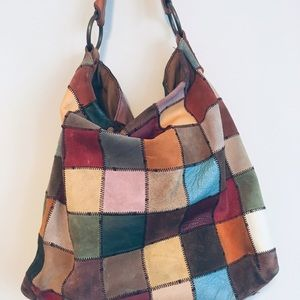 Lucky Brand Suede Patchwork Hobo Bag
